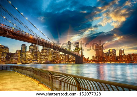 Manhattan, New York City. Spectacular sunset city view. - stock photo