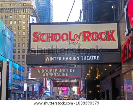 manhattan new york cityusa february 21 2018 a sidewalk view - Winter Garden Theater Nyc