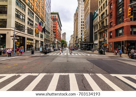 MANHATTAN, NY (August 12, 2017) - Facing south on 5th avenue and 28th street or NoMad (North of Madison), in the crosswalk.