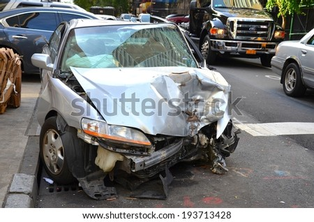 MANHATTAN, NY- SEPTEMBER 21: Car Crashed in a Accident in Manhattan New York, USA on September 21, 2013. One of the 5 boroughs of New York City, the smallest but also the most populated. - stock photo