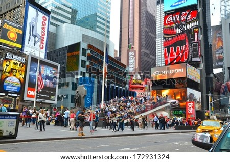 MANHATTAN, NY- SEPTEMBER 21: Manhattan Times Square and transportation in New York, USA on September 21, 2013. One of the 5 boroughs of New York City, the smallest but also the most populated. - stock photo