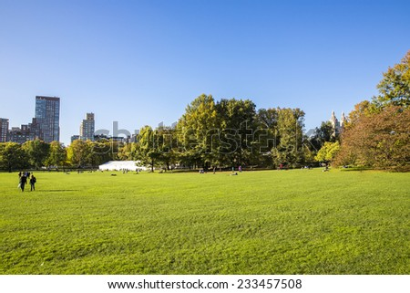 Manhattan, NYC - November 3: View of Central Park in Manhattan, NYC on November 3, 2014. Central Park is an urban park in the central part of Manhattan, New York City. - stock photo
