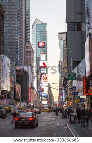 Manhattan, NYC - November 3: View of neon lights in Times Square by night, in Manhattan, NYC on November 3, 2014.
