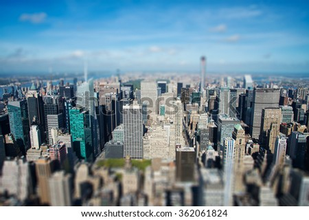 Manhattan panoramic view from above - tilt and shift effect - stock photo