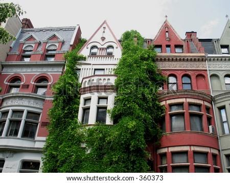 Manhattan row houses - stock photo