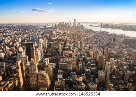 manhattan seen from the empire state - stock photo