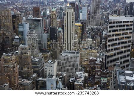 Manhattan skycrapers in NYC. - stock photo