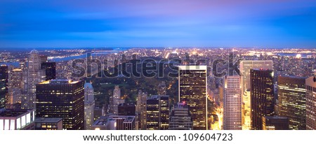 Manhattan skyline and Central Park panoramic at night