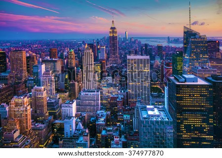 Manhattan Skyline at Dusk - stock photo