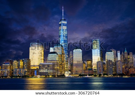 Manhattan skyline at dusk, New York, United States - stock photo