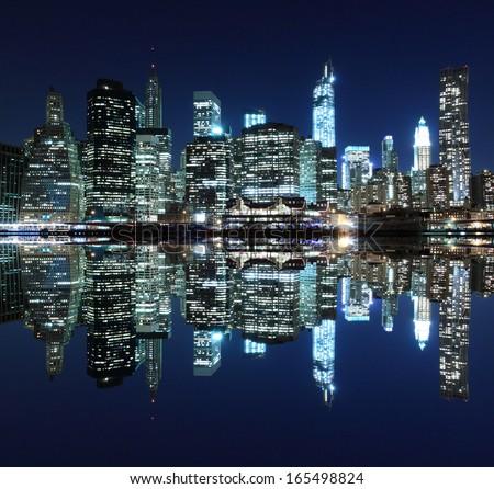 Manhattan skyline at Night Lights, New York City - stock photo
