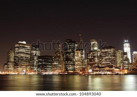 Manhattan Skyline At Night, New York City - stock photo