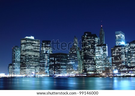 Manhattan Skyline At Night, New York City - stock photo