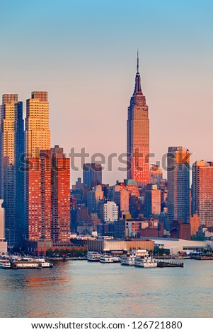 Manhattan Skyline at sunset - stock photo