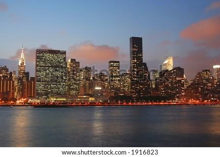 Manhattan skyline at Twilight - stock photo