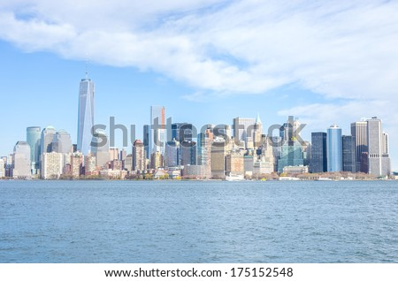 Manhattan skyline from Hudson river - stock photo