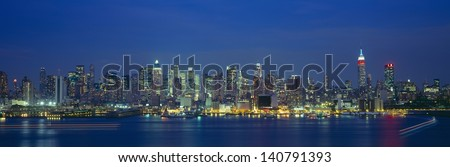 Manhattan Skyline From Weehawken, New Jersey at night, New York City, NY