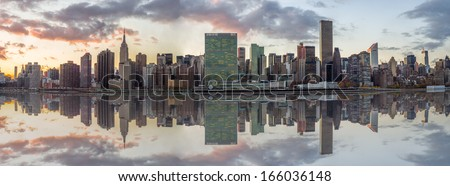 Manhattan Skyline in New York City at Sunset - stock photo
