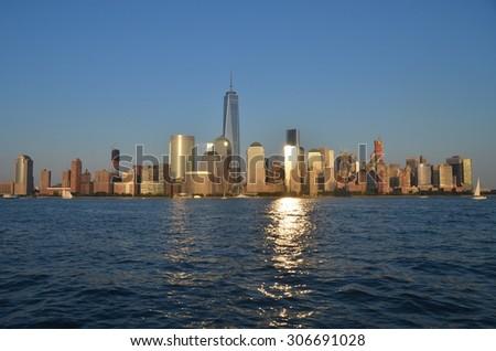 Manhattan Skyline in the summer, New York City, USA. - stock photo