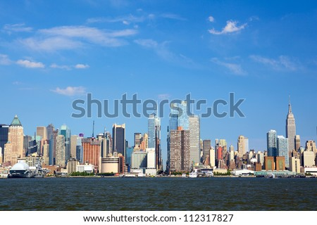 Manhattan skyline looking east along 42nd Street over the Hudson River, New York