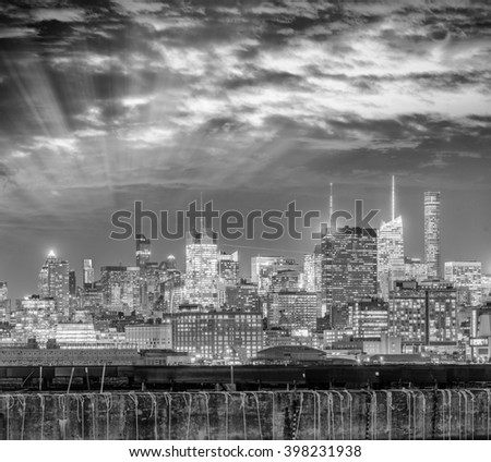 Manhattan skyline, New York City aerial view.