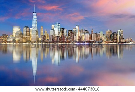 Manhattan skyline, New York City at night - stock photo