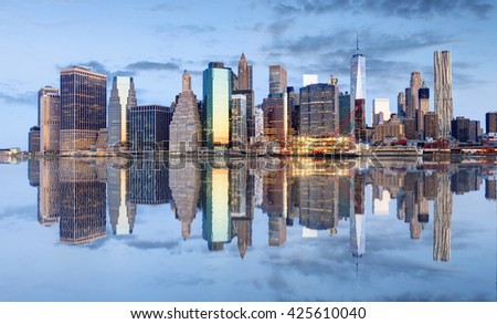 Manhattan skyline, New York, USA - stock photo