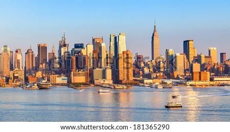 Manhattan Skyline over Hudson River - stock photo