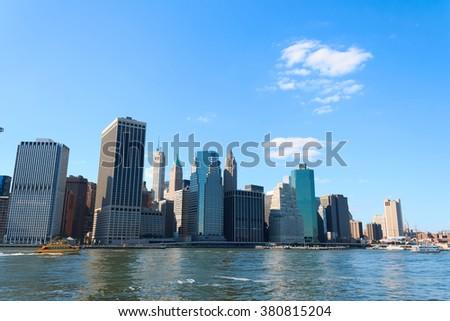 Manhattan Skyline over Hudson River, New York City, USA - stock photo