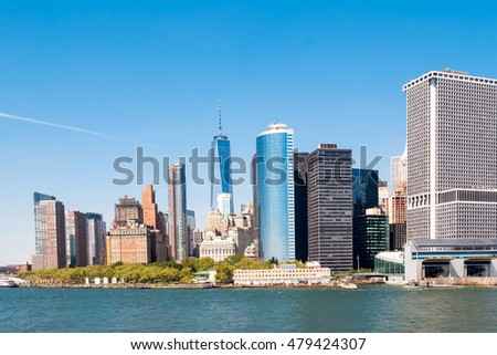 Manhattan Skyline over Hudson River, New York City, USA. Lower Manhattan and One World Trade Center area.