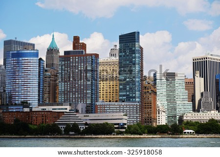 Manhattan skyline over Hudson River, New York, USA. Manhattan midtown view with skyscrapers, NYC panorama. Top of the buildings in financial district. Business background. NY skyscrapers.