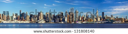 Manhattan skyline panorama with Empire State Building, New York City - stock photo