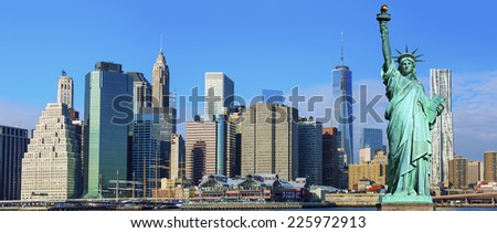 Manhattan Skyline with Brooklyn Bridge and the Statue of Liberty, New York City