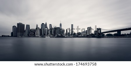 Manhattan Skyline with Brooklyn Bridge, New York City - stock photo
