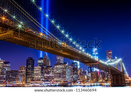 Manhattan Skyline with 911 Lights - stock photo