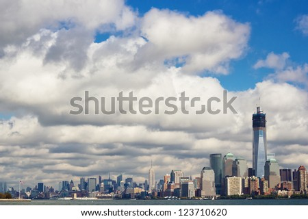 Manhattan skyline with the newest world trade center building - stock photo