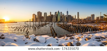 Manhattan Skyline with the One World Trade Center building in winter, New York City - stock photo