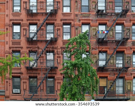 Apartment Building Fire Escape Ladder manhattan upper east side apartment building stock photo 354693539
