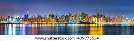 Manhattan Upper East Side skyline panorama by night - stock photo