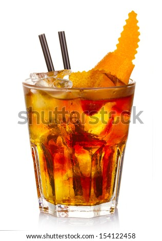 Manhatten alcohol cocktail with orange fruit rind isolated on white background - stock photo
