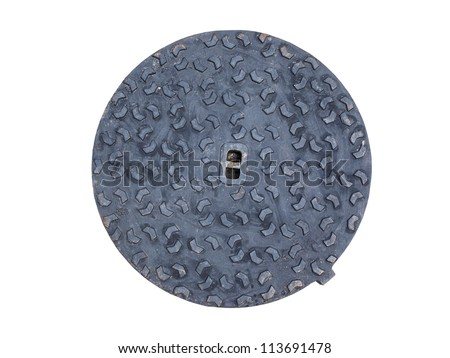 Manhole Cover for Water on white - stock photo