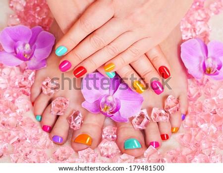 manicure and pedicure. body care, spa treatments - stock photo