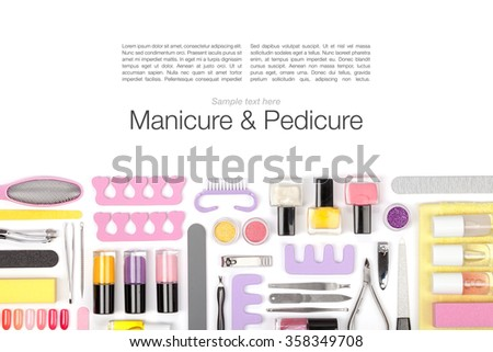 manicure and pedicure equipment on white background - stock photo