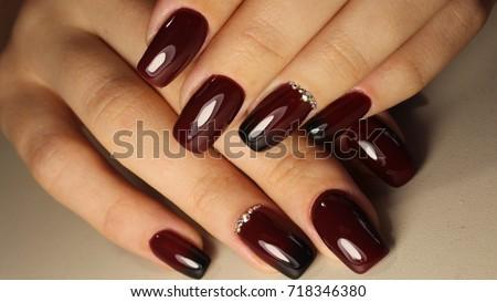 Manicure design nails gradient burgundy black stock photo manicure design nails gradient burgundy with black prinsesfo Images