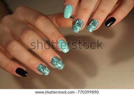 Nail design manicure nail paint beautiful stock photo 387296884 manicure design nails with a pattern prinsesfo Images