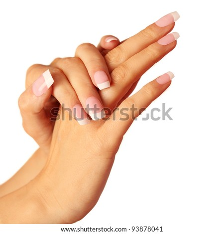 manicure hands. hands with French manicure isolated on white background