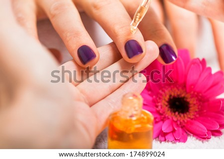 manicure making in beauty spa salon macro closeup