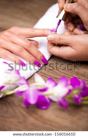 Manicure nail - stock photo