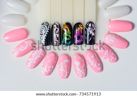Manicure Nail Color Design Samples Pink Stock Photo Edit Now