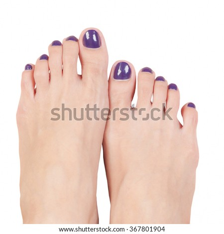 manicure nails and woman foot,purple color on white background - stock photo
